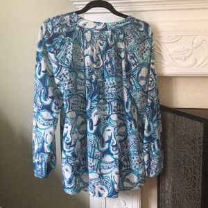 Lilly Pulitzer Tops - Lily Pulitzer elephant silk blouse